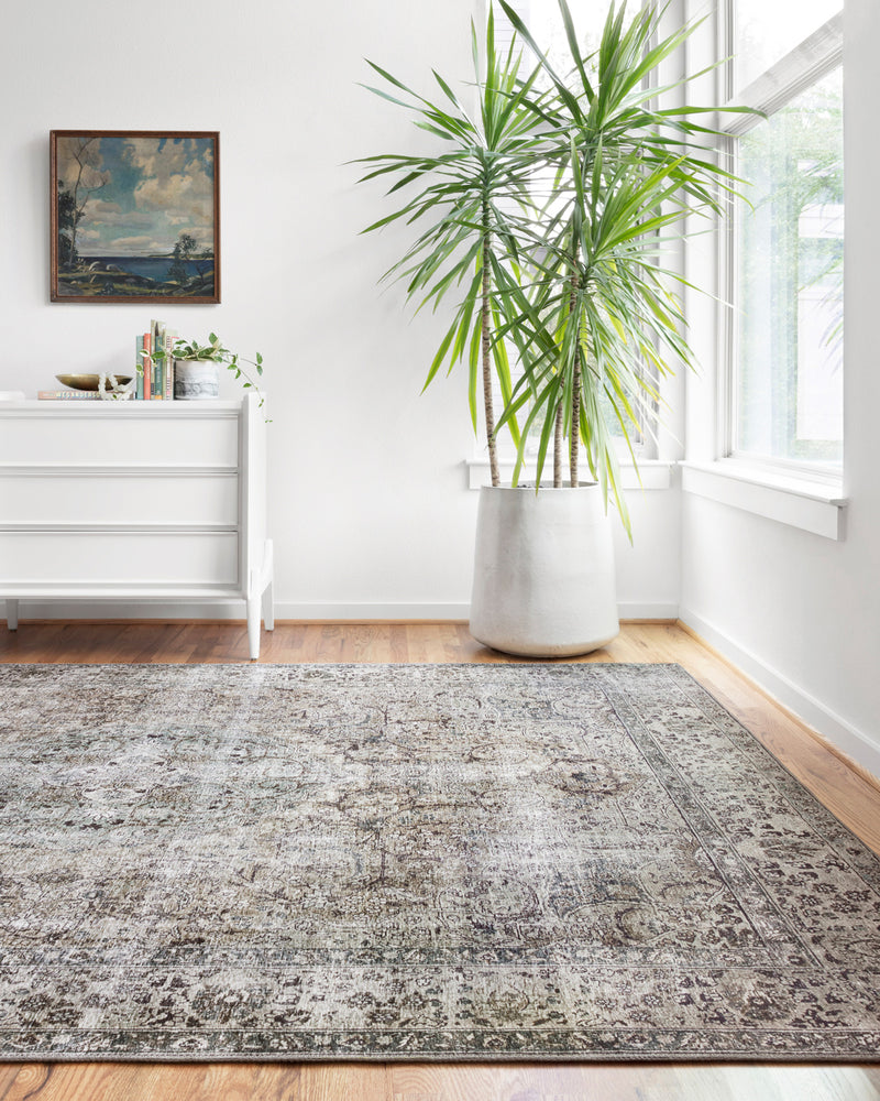 crown and birch leyla rug taupe stone scene one