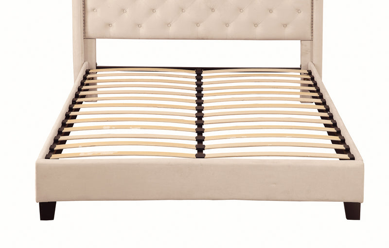 crown and birch lincoln bed platform ivory front