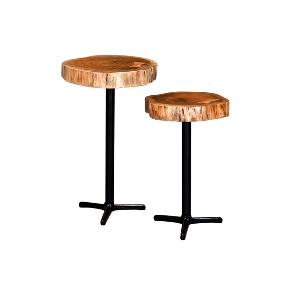 crown and birch live edge natural accent tables front