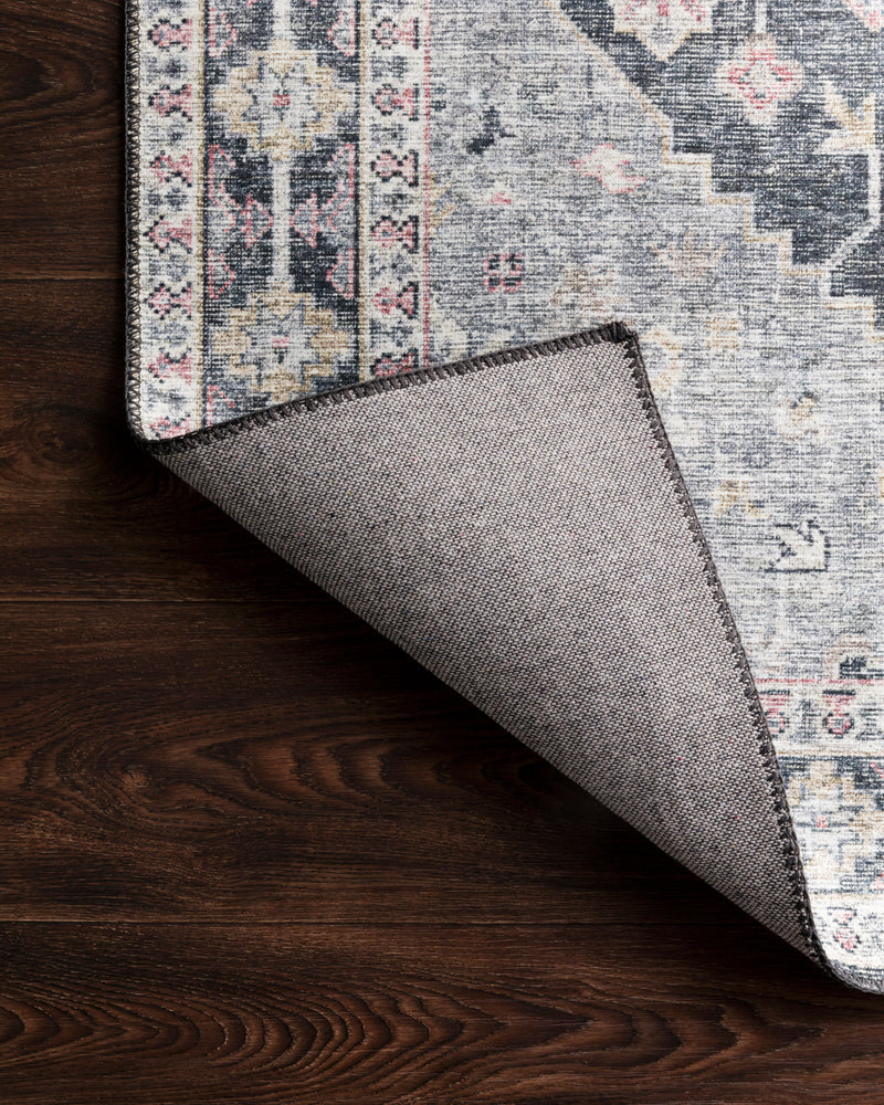 crown and birch liza rug charcoal multi corner flipped