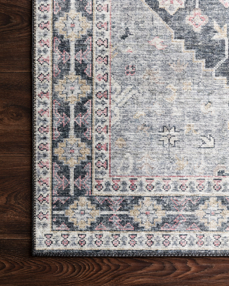 crown and birch liza rug charcoal multi corner