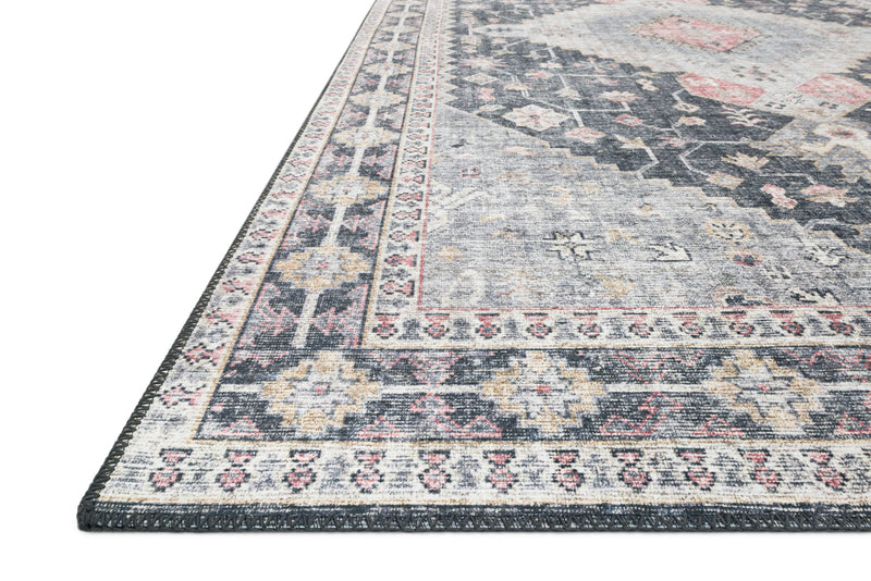 crown and birch liza rug charcoal multi detail