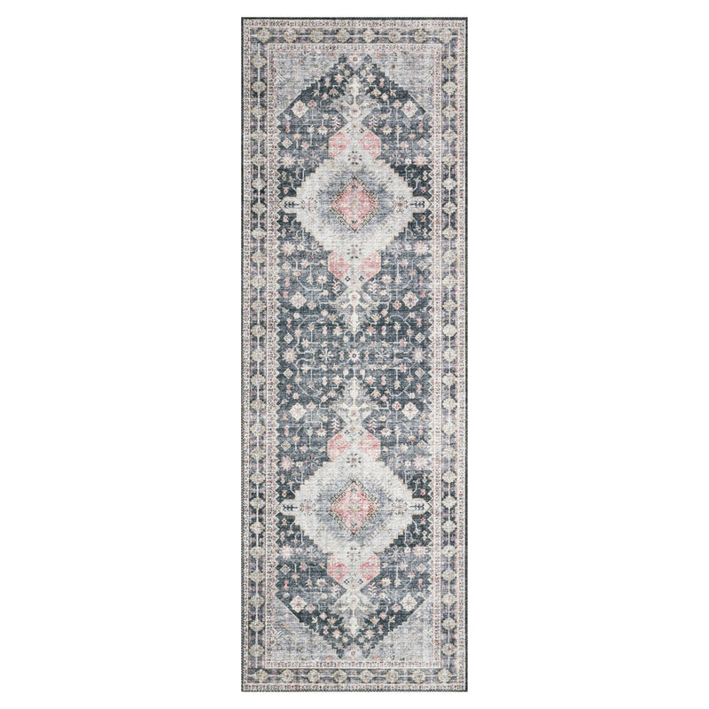 crown and birch liza rug charcoal multi runner
