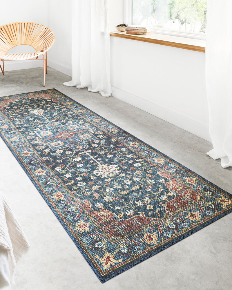 crown and birch liza rug denim brick runner scene