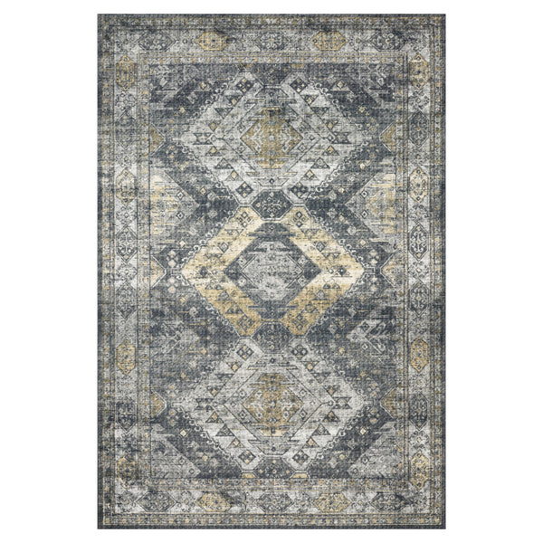 crown and birch liza rug graphite silver front