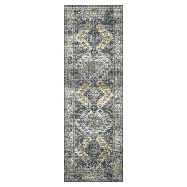 crown and birch liza rug graphite silver runner