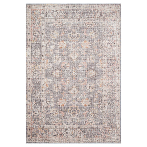 crown and birch liza rug grey apricot front