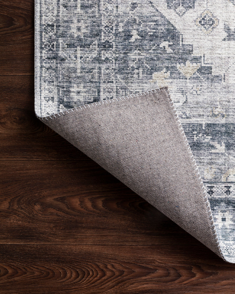 crown and birch liza rug silver grey corner flipped