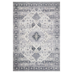 crown and birch liza rug silver grey front