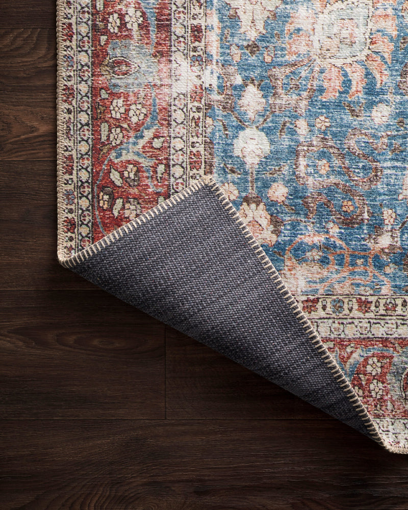 crown and birch lorelei rug blue brick corner flipped