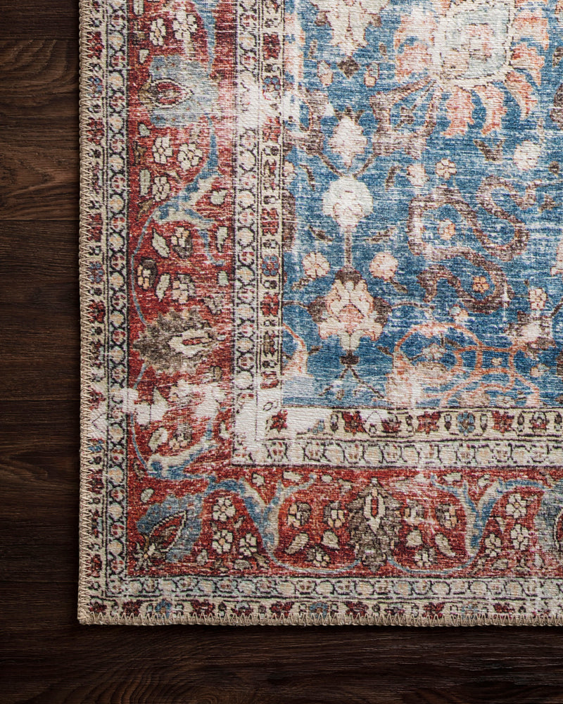 crown and birch lorelei rug blue brick corner