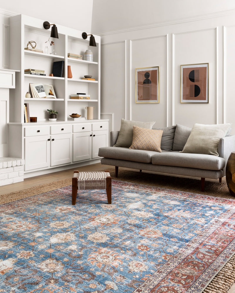 crown and birch lorelei rug blue brick scene