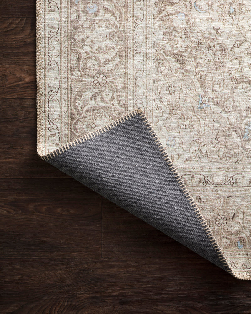crown and birch lorelei rug sand taupe corner flipped