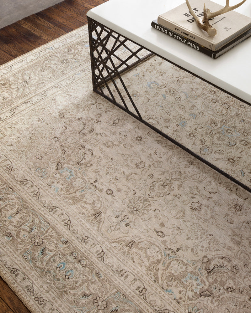 crown and birch lorelei rug sand taupe scene one detail
