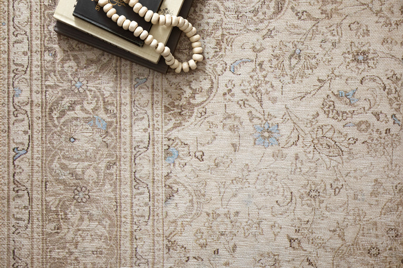 crown and birch lorelei rug sand taupe scene detail two