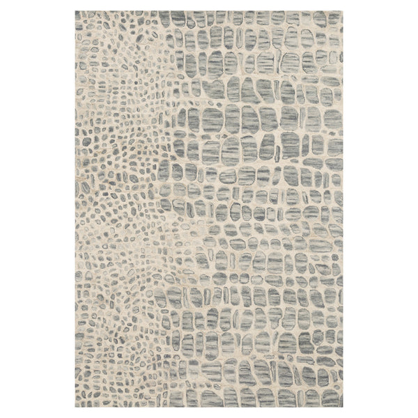 crown and birch maasai rug silver grey ivory front