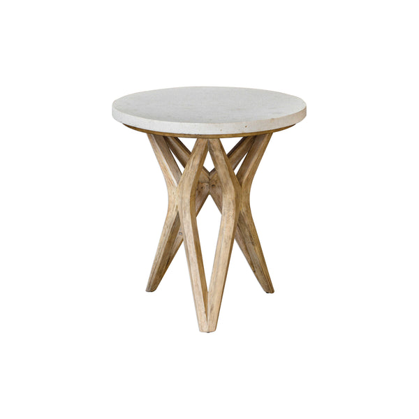 crown and birch malia limestone side table front