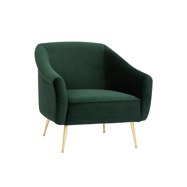 crown and birch megan occasional chair forest green angle