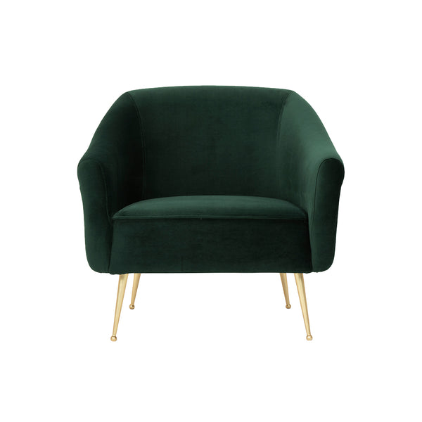 crown and birch megan occasional chair forest green front