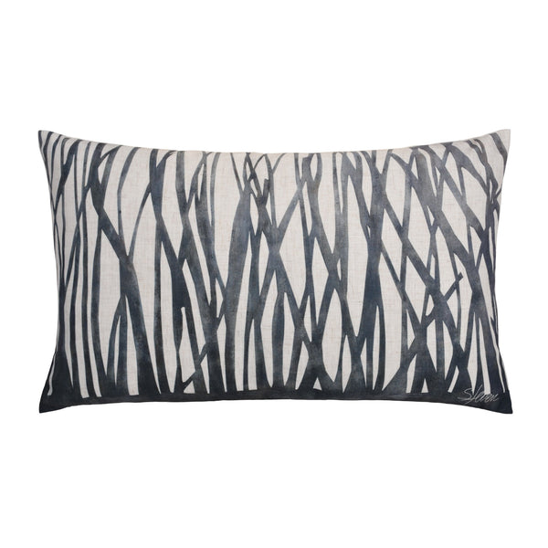 crown and birch miller lumbar grey stripe pillow front