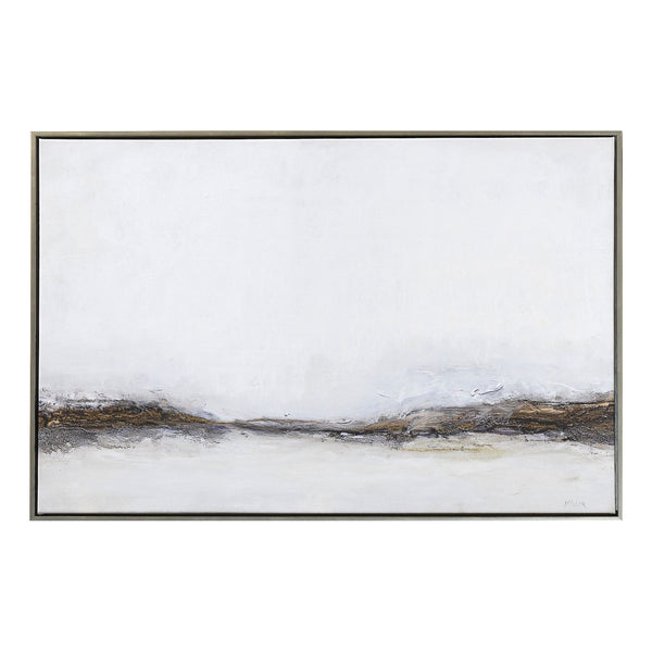 crown and birch misty morning framed canvas
