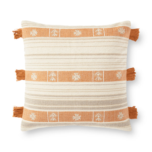 crown and birch natural orange fringe pillow front