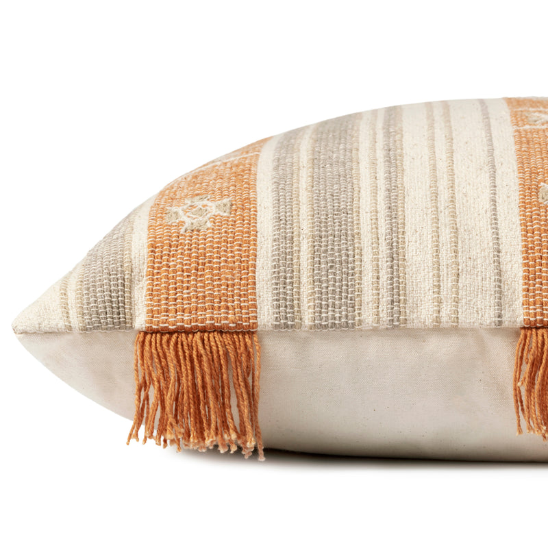 crown and birch natural orange fringe pillow side