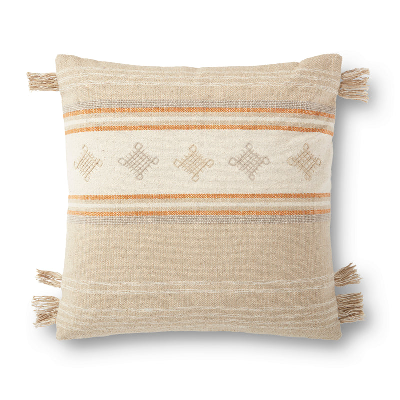 crown and birch natural orange tassel pillow front