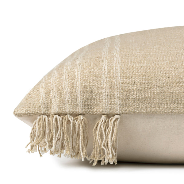 crown and birch natural orange tassel pillow side