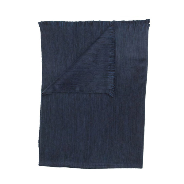 crown and birch navy fringe throw front