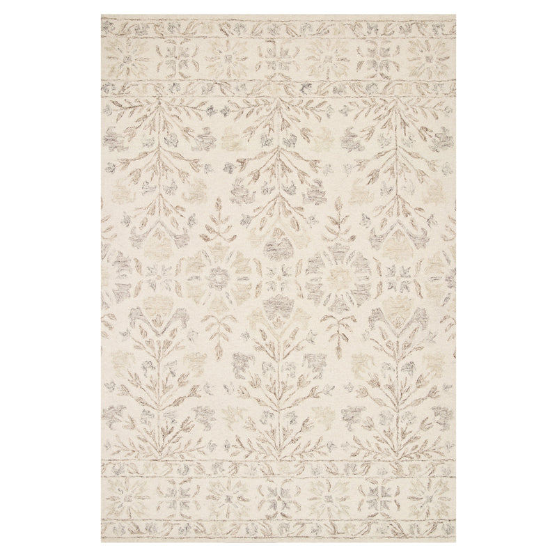 crown and birch nora rug ivory neutral front