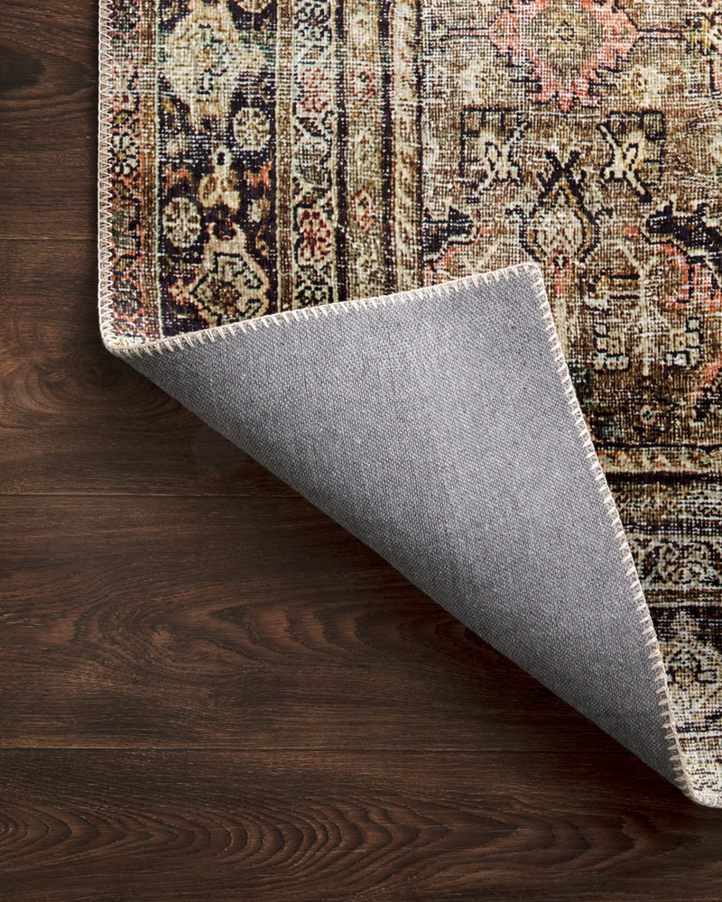 crown and birch leyla rug olive charcoal corner flipped