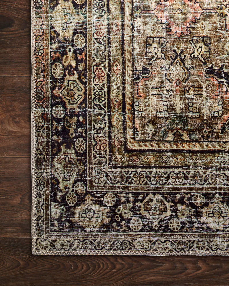 crown and birch leyla rug olive charcoal corner
