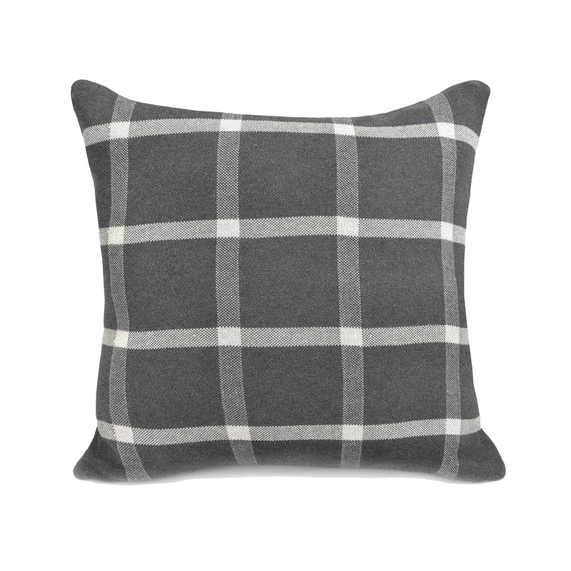 crown and birch plaid charcoal cushion