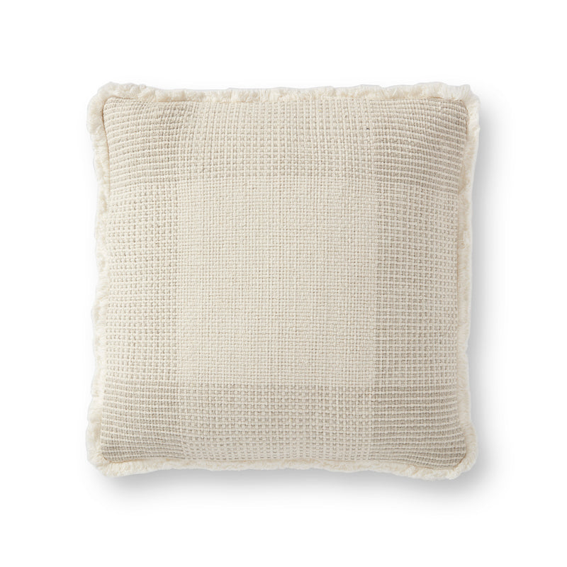 crown and birch plaid fringe pillow cream front