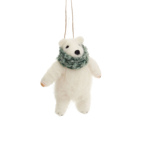 crown and birch polar bear ornament