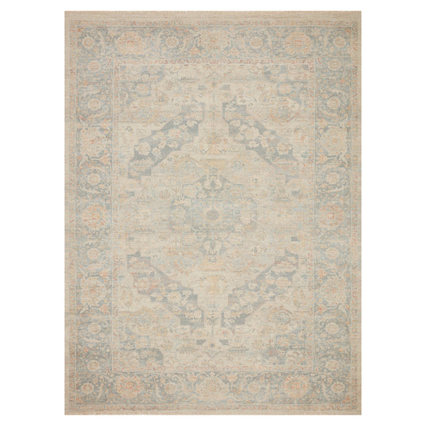 crown and birch prite rug loloi priya bone bluestone front
