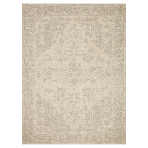 crown and birch prite rug loloi priya ivory grey front