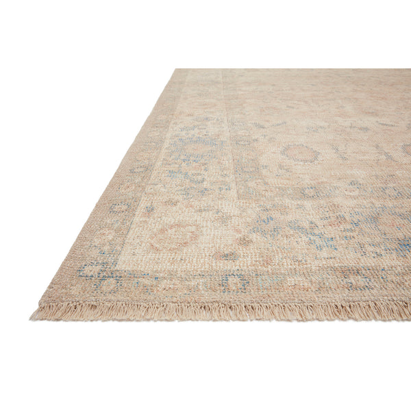 crown and birch prite rug loloi priya natural blue detail