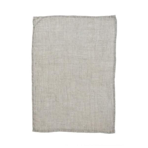 crown and birch rustic linen tea towel dark grey front