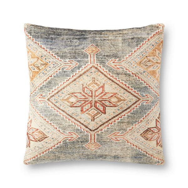loloi p0906 grey multi pillow front