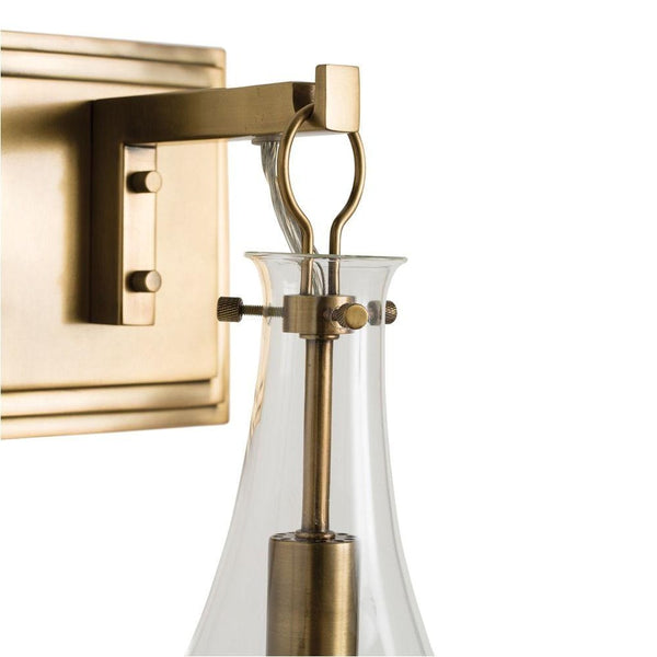 crown and birch sabrina sconce antique brass detail