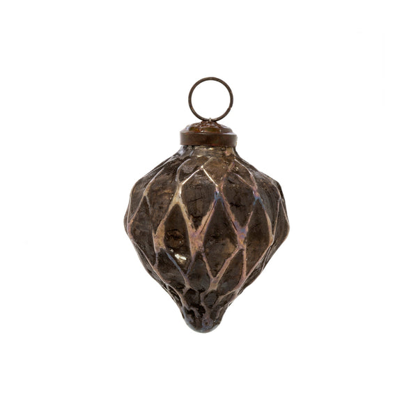 crown and birch sandstone cone ornament brown