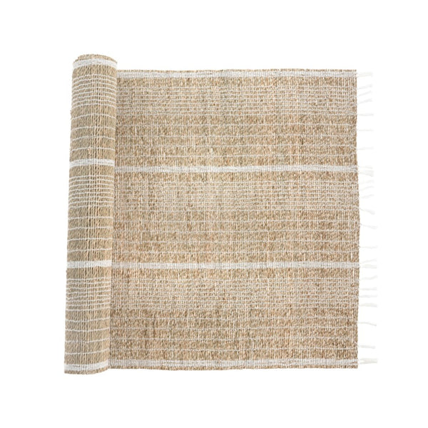 crown and birch seagrass table runner
