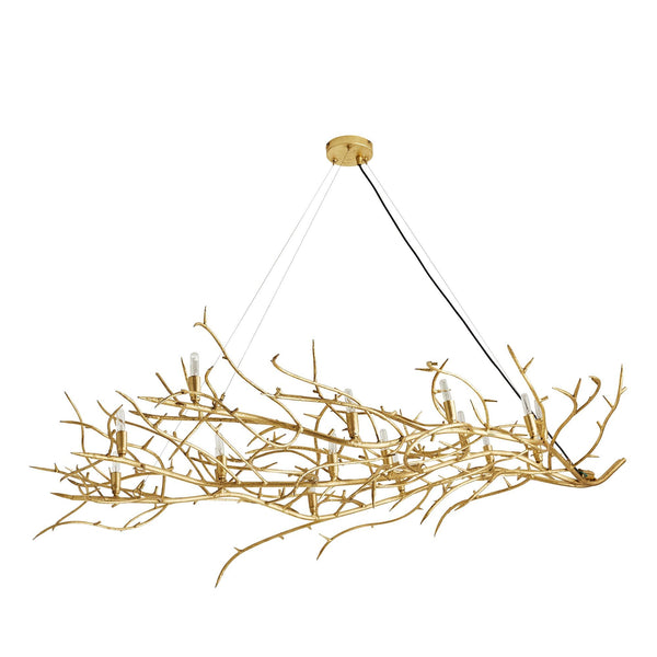 crown and birch shirly chandelier gold leaf angle two