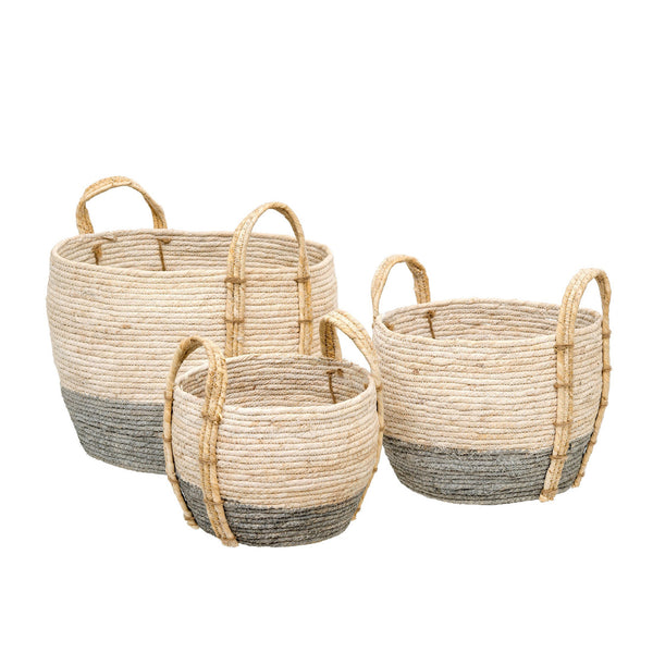 crown and birch shore baskets set of 3 grey