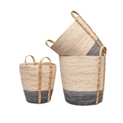 crown and birch shore storage baskets set of 3 grey angle