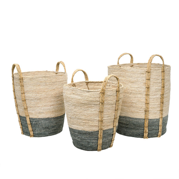 crown and birch shore storage baskets set of 3 grey
