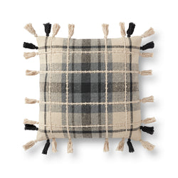crown and birch tassel plaid pillow front