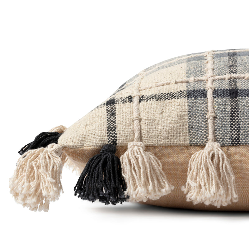 crown and birch tassel plaid pillow side
